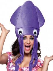 Hat blæksprutte lilla i plys til voksne