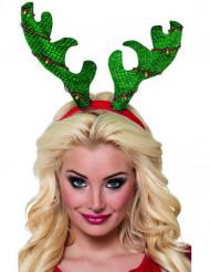 Hårbånd grønt gevir til jul