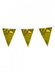Guirlande med guldfarvede vimpler 10 m