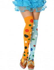 Strømper med prikker flerfarvede klovn til kvinder