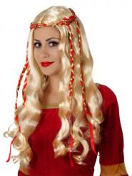 Paryk blond lang med røde bånd til kvinder