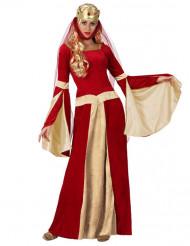 Middelalder dronning i rødt og guld kostume voksen
