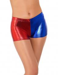 Harlekin hotpants i rød og blå