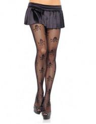 Strømpebukser net sorte med kranier pirat til kvinder