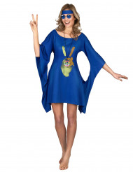 Kostume hippie blå peace and love kvinde