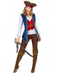 Kostume pirate velour blå og blommefarvet til kvinder