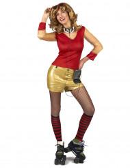 Kostume 80er guld og rød til kvinder