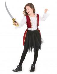 Piratkostume i rødt fløjl og sort tylskørt til piger