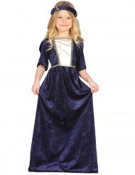 Blåt Middelalder Fin Dame Kostume Barn