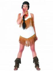 Kostume indianer hvidt med frynser til kvinder
