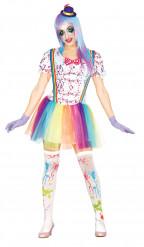 Klovn med farvestænk kostume voksen