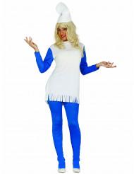 Blå dværg i kjole kostume voksen