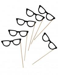 6 sorte briller til photobooth 13 cm
