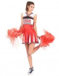 USA Rødt cheerleaderkostume til kvinder