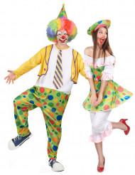 Par kostume klovne med prikker til voksne