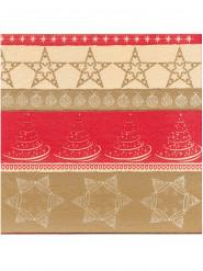 12 Papirservietter Premium Rød og Guld40 x 40 cm