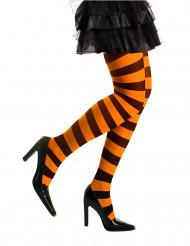 Strømpebukser stribede sort og orange til voksne