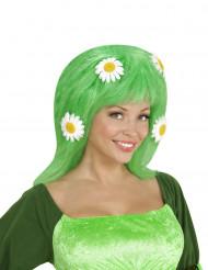 Paryk grøn med margueritter til kvinder
