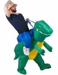 Opdagelsesrejsende ridende på dinosaurus kostume voksen
