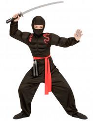 Kostume muskuløs ninja sort til drenge