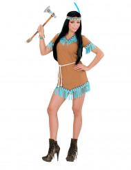 Indianerkostume squaw brunt og blåt dame