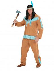 Indianerkostume i brunt og blåt herre