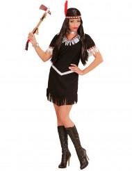 Sort og hvidt indianer inspireret kostume dame
