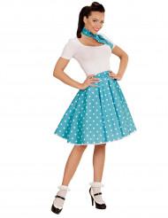 Turkisfarvet nederdel og tørklæde med prikker 60