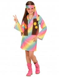 Kostume hippie flerfarvet pastel til piger