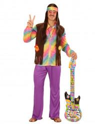 Kostume hippie multifarvet pastel til mænd