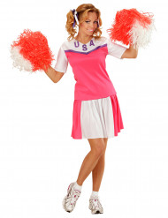 Cheerleaderkostume lyserødt og hvidt dame