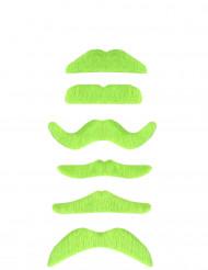Overskæg neon grøn til voksne