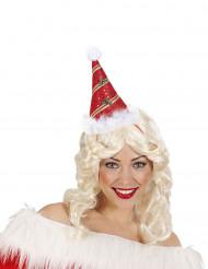 Hat spids rød med kristtjørn til voksne til jul