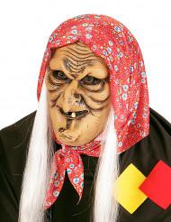 Maske gammel kone med hvidt hår