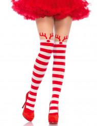 Strømpebukser rød pg hvis stribet til kvinder