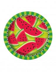 8 Paptallerkner vandmelon 22 cm