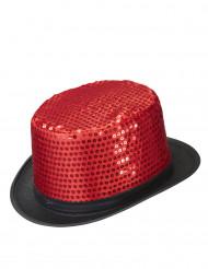 Hat høj rød med pailletter sort omrids til voksne