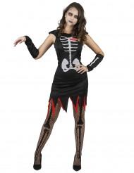 Kostume til levende skelet med hjerter dame