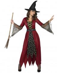 Kostume troldkone i rødt og guld dame