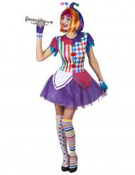 Kostume farvestrålende harlekin med pomponer dame