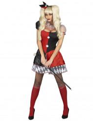 Rødt og sort kostume til harlekin dame