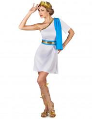 Blåt kostume græsk kejserinde inspireret dame