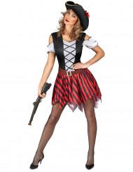 Rødt- og sortstribet piratkostume dame