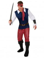 Kostume Pirat rød- og sortstribet til mænd
