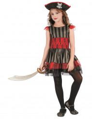 Kostume pirat rød og sort til piger