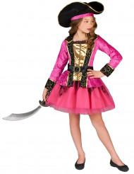 Piratkostume lyserødt og guldfarvet