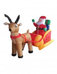 Dekoration oppustelig julemand med kane 180 cm