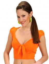 Top orange med sløjfe sexy til kvinder