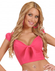 Top lyserød med sløjfe sexy til kvinder