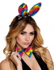 Kanin kit ører og butterfly multifarvet til voksne